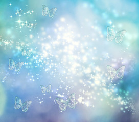 Butterfly Blue Lights Background