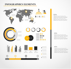 Human infographic vector illustration. World Map