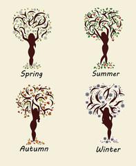 A woman tree in four seasons