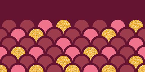 Gold glitter fish scale horizontal border seamless pattern