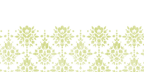 vector green textile damask flower horizontal border seamless