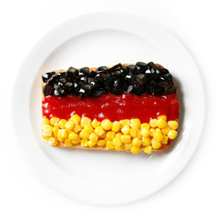 Sandwich with flag of Germany Isolated on  white