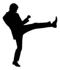 Silhouette Businessman Kicking