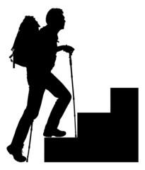 Silhouette Hiker Climbing Steps
