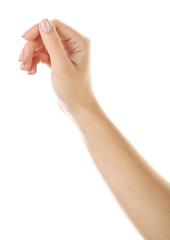 Female hand holding something isolated on white