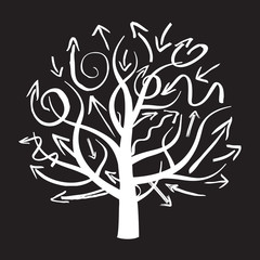white vector tree and arrows