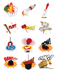 Printed kitchen splashbacks Fairytale World comic expressions set