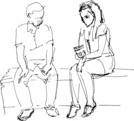 black and white sketch of man and woman on a bench
