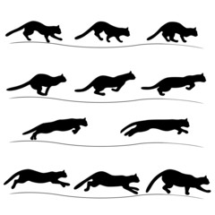 Set of running black cat silhouettes