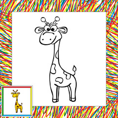 Funny cartoon giraffe coloring book