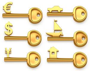 Gold keys symbolizing Euro,Dollar,Yen,House,Yacht and car.