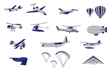 Set of Plane Helicopter and Air Transportation vectors and icons