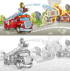 Cartoon fire truck - illustration for the children
