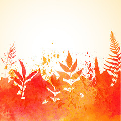 Orange watercolor painted vector autumn foliage background