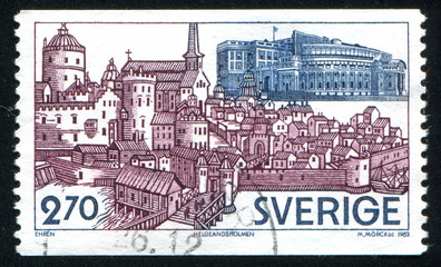 View of Helgeandsholmen Stockholm by Franz Hogenberg
