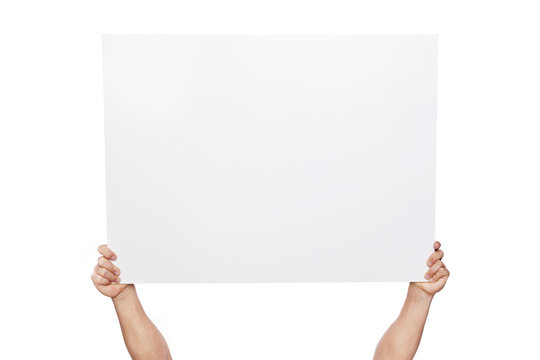 Hands holding a blank banner, isolated on white