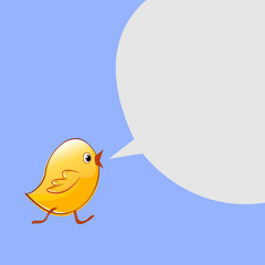 Little chicken goes and talks. Vector design
