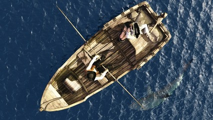 Pirate couple in rowboat from overhead