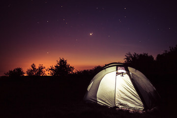 Luminescence in a tent under stars
