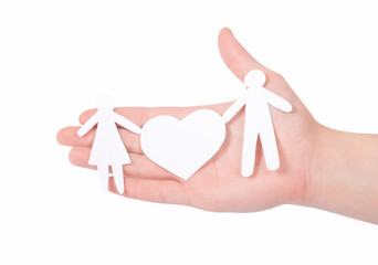 paper family in hands isolated on white