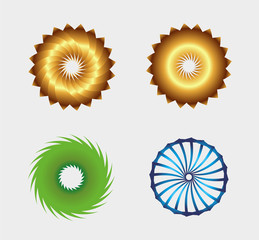 Business abstract symbol template set with circle round icon