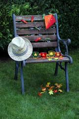 Gartenstuhl mit Herbstdekoration Drache und Blätter