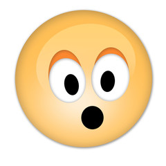 Surprised smiley- emoticon with mouth wide open