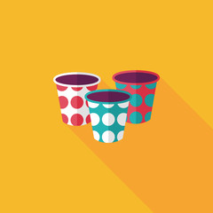 Paper Cup flat icon with long shadow,eps10