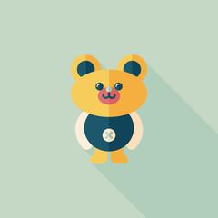 teddy bear flat icon with long shadow