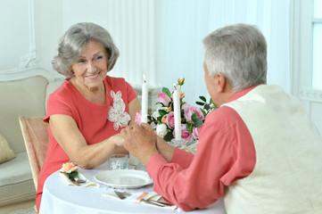 Happy elderly couple having dinner