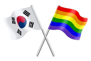 Flags: South Korea and rainbow