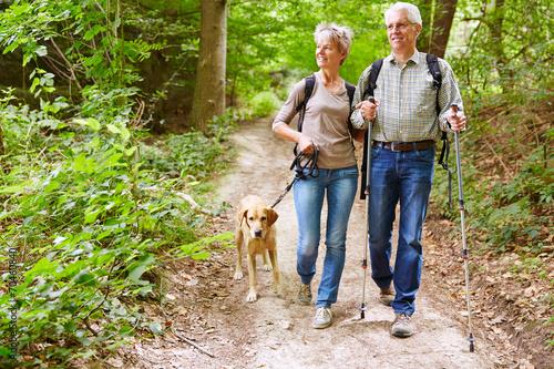 paar senioren beim wandern mit hund stockfotos und lizenzfreie bilder auf bild. Black Bedroom Furniture Sets. Home Design Ideas