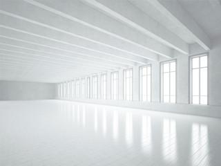 White loft interior with big windows