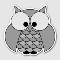 sticker - cute owl with big squinting eyes