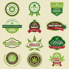 Set of marijuana pot product labels. Vector Illustration eps10