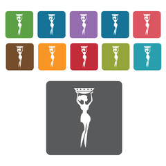 Africa Tribal woman icon. African culture icons set. Rectangle c