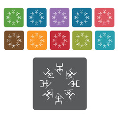Africa Tribal dance icon. African culture icons set. Rectangle c