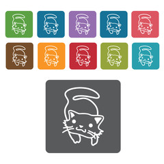 Sitting cat icon. Cat icon set. Rectangle colourful 12 buttons.