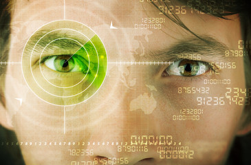 Wall Mural - Modern man with cyber technology target military eye