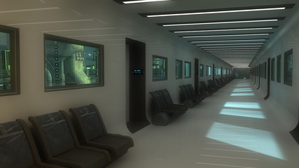 Futuristic corridor interior and city