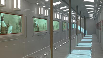 Futuristic corridor interior underground and city