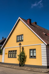 Small houses in Ystad, Scania region, Sweden.