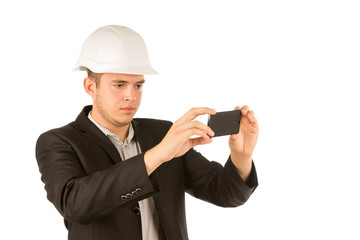 Close up Young Engineer Taking Picture Using Phone