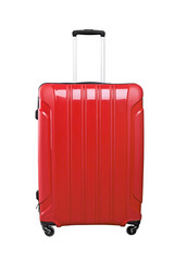 Red travel bag isolated on white background.