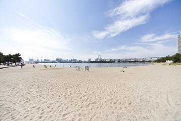 お台場海浜公園のビーチ