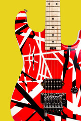 Beautiful closeup red and white electric guitar