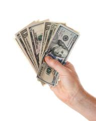 Hand full of US dollars