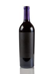 Single Red Wine Bottle on White