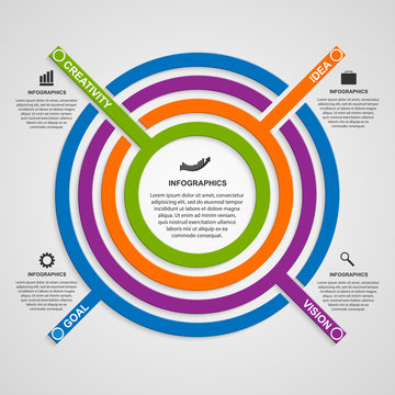 Vector circle colorful infographic.