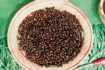 Roasted Ethiopian coffee beans on plate